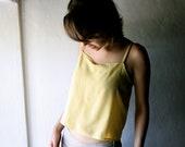 silk tank top - Yellow crop top womens blouse short camisole