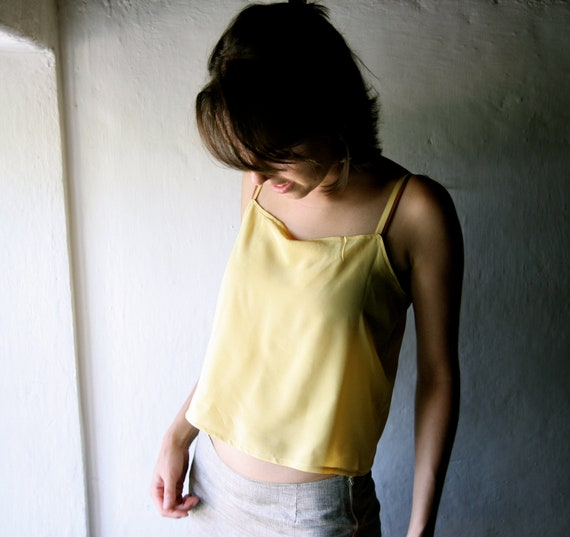 silk tank top - Yellow crop top womens blouse short camisole