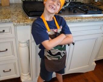 Apron Chef Hat Set Camo
