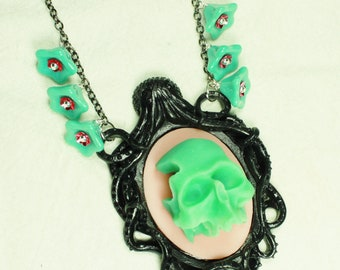 Skull and Octopus Cameo Necklace in Aqua and Pink with Flowers