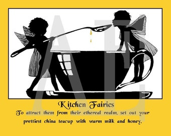 RC-045 Artistic Ephemera Recipe Cards - Set of 8 - How to Attract Kitchen Fairies Teacup Tea Honey - Also Available as Postcards