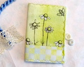 Daisy Needlebook Watercolor Fabric Bees Ink Drawing