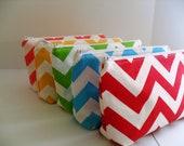 Chevron Fabric Bridesmaid Gift Makeup Bags / You Can Pick Fabrics/ Set of 5 - Bridesmaid Gift- Zipper Makeup Bag - cosmetic Bag