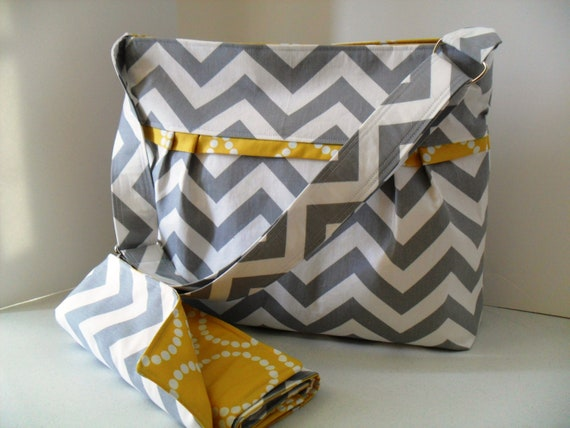 READY TO SHIP Large Diaper Bag Set Made of Chevron and Yellow - Adjustable Strap