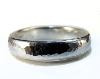 Silver Wedding Ring Hammered Texture