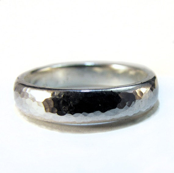 Sterling Silver Wedding Ring Hammered Texture size 13