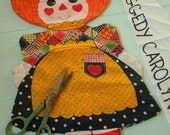 Vintage circa 1975 Raggedy Ann Carolyn doll fabric - Make your own stuffed pillow doll