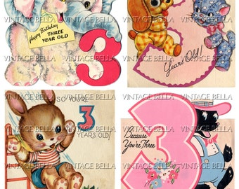 Vintage 1930s 1940s Children AGE 3 Birthday Greeting Card Digital Download 276 - by Vintage Bella