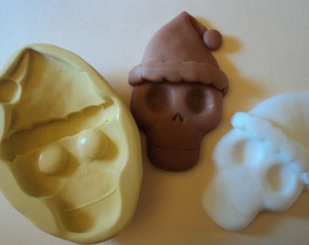 Skull with santa hat craft FLEXIBLE mold