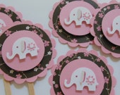 Elephant Cupcake Toppers - Pink, Brown and White