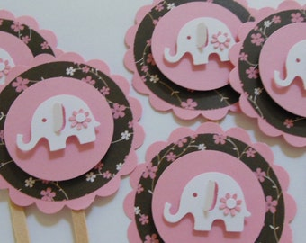 Elephant Cupcake Toppers - Pink, Brown and White - Girl Baby Shower Decorations - Girl Birthday Party Decorations - Set of 6