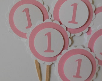 1st Birthday Cupcake Toppers - Pink and White - Girl Birthday Decorations - Baby Girls - Set of 6