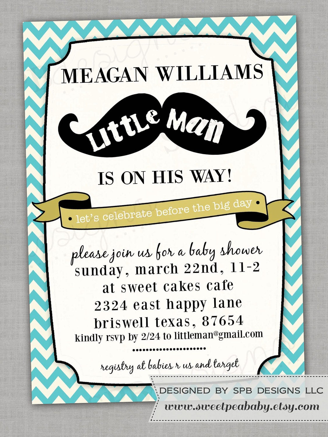 mustache baby shower invitation little man