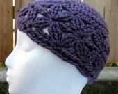 Crochet Hat - Purple Daisy Lace -  Small- Ready to Ship
