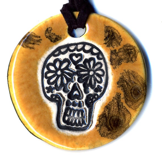 Day of the Dead Skull Ceramic Necklace in Spotted Brown