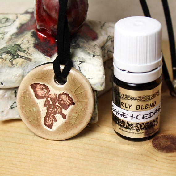 Sage and Cedar Scented Archaeopteryx Ceramic Necklace with Sage and Cedar Essential Oil  blend in small size