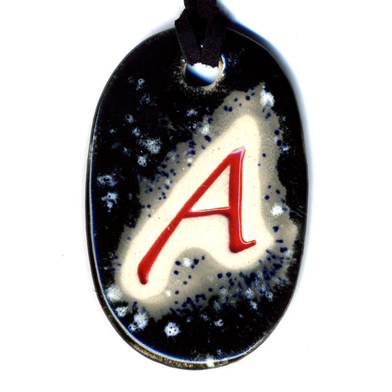 The Scarlet Letter Ceramic Atheist Necklace in Black and Gray