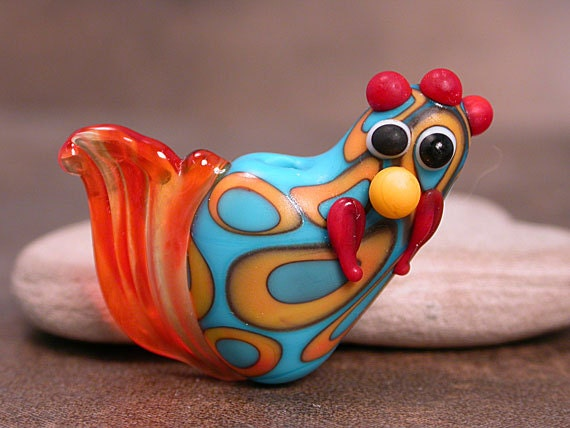 Southwestern Lampwork Bird Bead Chicken Rooster Turquoise and Orange Divine Spark Designs SRA