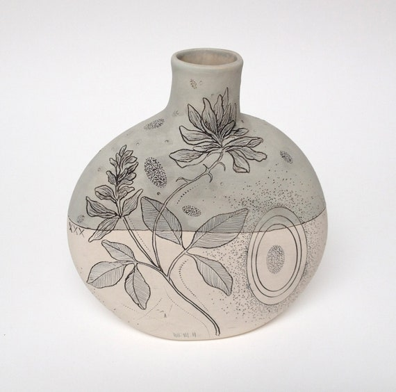 Pale Sage Handmade Pottery Canteen Vase with Clover Flower and Pear