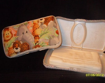 Baby Jungle Animals Fabric Covered Baby Wipe Case