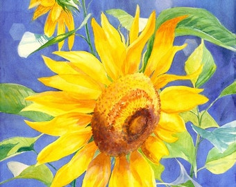 Floral art print sunflower blue and yellow