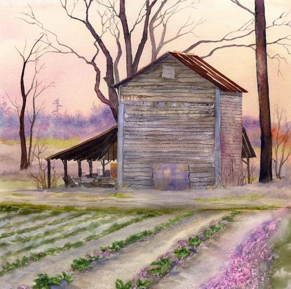 Items Similar To Rose Hill Barn In Winter Twilight. On Etsy