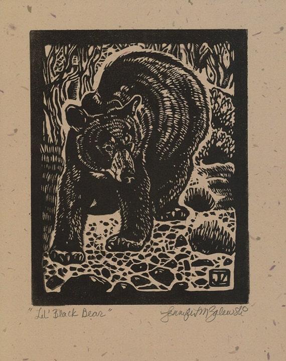 Lil Black Bear- Linocut