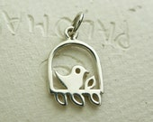 1 pc - Sterling Silver Bird on a Perch Charm  20 x 10mm