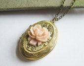 Shop Closing Sale -- Vintage Style  Antiqued Brass Locket Necklace with Pale Pink  Rose -- 24 Inch Chain
