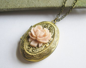Antiqued Brass Locket Necklace with Pale Pink Rose  24 Inch Chain  Vintage Style Romantic Gift for Her Under 20