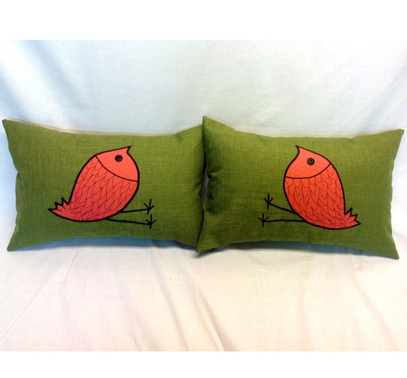 Decorative Pillows With Bird Design : Two Decorative Pillow Covers with Bird Design for by LenkArt