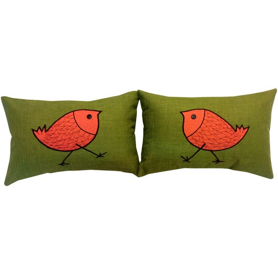 Two Green Decorative Pillow Covers with Bird Design for Outdoor or Indoor use.