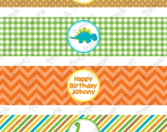 Printable Baby Dinosaur Birthday Water Bottle Wrappers