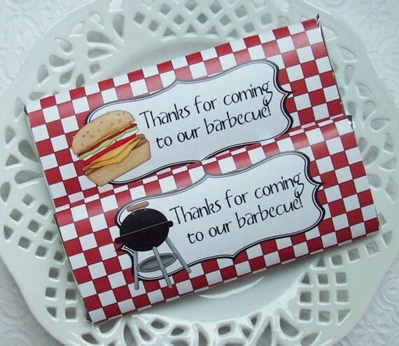 Printable Backyard Barbecue Large Candy Bar Wrappers - Instant Download