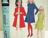 Vintage McCall's 8589 Girls' Dress and Coat Size 7 1966