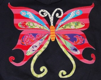 Navy Fleece Lined Hoodie with Beautiful Butterfly and European Trim, Butterfly Gift, Sweat Jacket,Butterfly Party,Butterfly Hoodie,Baby Gift