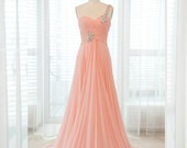 Peach toga romantic wedding gown / prom dress / bridesmaid dress / wedding / bridesmaid