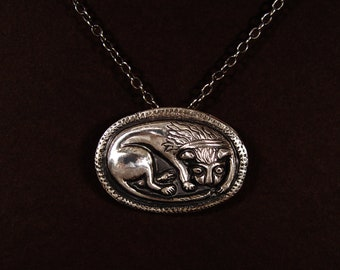 MEDIEVAL style Sterling Lion Pendant