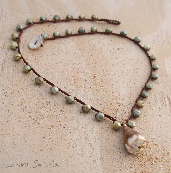 Beach Boho Maui Cone Shell Crocheted Necklace