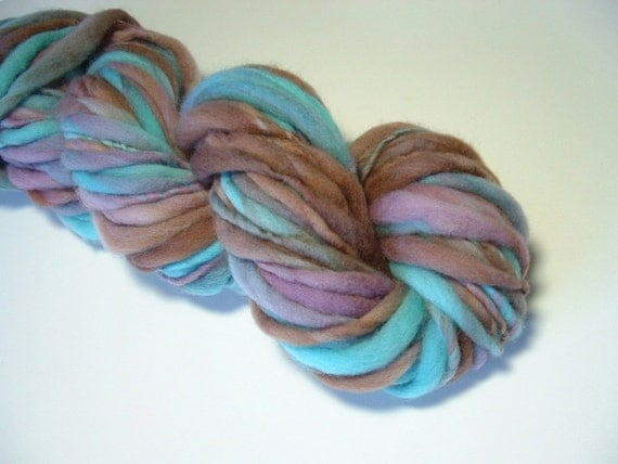 Handspun Yarn Bulky Thick and Thin Merino Wool 50 yards aqua lavender brown