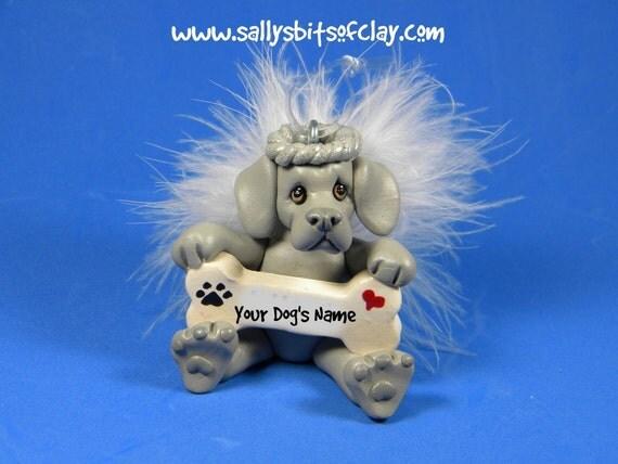 Weimaraner Angel Dog Christmas Bone Ornament Sallys Bits of Clay PERSONALIZED FREE