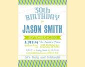 Modern Retro Birthday Anniversary Party Invitation Invite Digital Design - 21st, 30th, 40th, 50th, 60th - Printable - Typography / Stripes