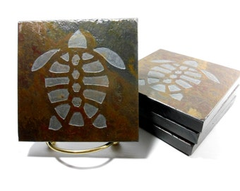 Turtle Coasters - 4 Etched Slate Coasters, Hand Carved Stone Coaster Set, Nautical Coasters, Beach Drink Coasters, Sea Turtle Decor Gifts