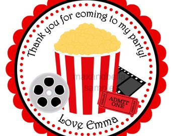 Movie Night Personalized Stickers, Labels, Gift Tags, Party Favors, Seals- Set of 12