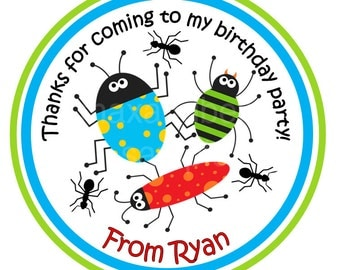 Bug Personalized Stickers, Beetle Stickers, Bugs, Ants, Gift Tags, Party Favors, Children, Birthday Stickers - Set of 12