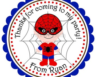 Spiderman Personalized Stickers, Address Labels, Gift Tags, Party Favors, Party Favors, Birthday, Super Hero, Boy Birthday - Set of 12