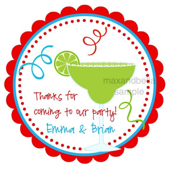 Margarita Personalized Stickers, Address Labels, Gift Tags, Party Favors, Seals- Set of 12