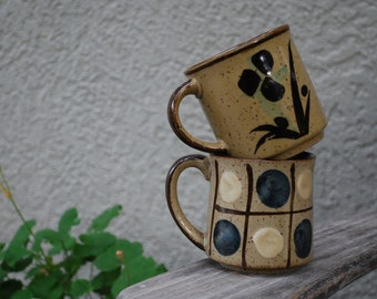 Vintage Mid Century Modern Stoneware Mugs