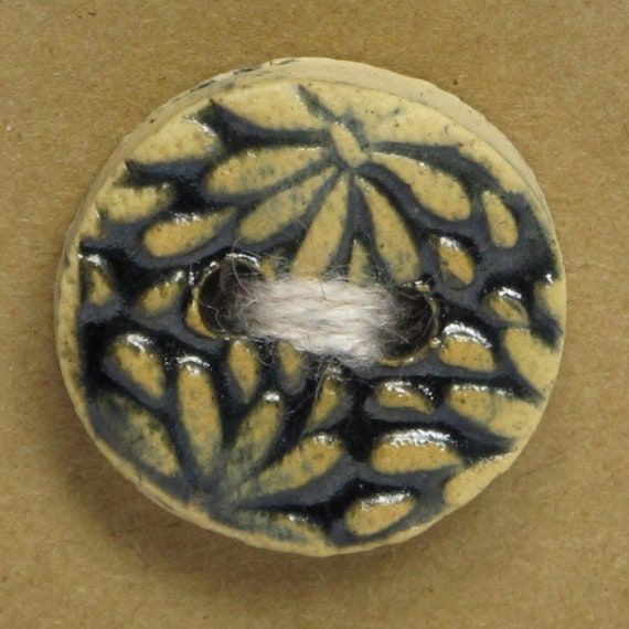 SALE Embossed Floral Ceramic Stoneware Button - Black - FREE SHIPPING