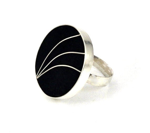 Black Rays Sterling Silver and Resin Ring Size 8 1/2